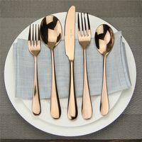 ingrosso set da pranzo nero-Set di posate in acciaio inossidabile di alta qualità posate in oro rosa posate nero opaco 5 pezzi di posate d'oro romantico posate coltello forchetta