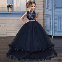 Wholesale teenagers party dresses resale online - Elegant Long Embroidery Dresses for Girls Graduation Wedding Tulle Dress for Girl Formal Prom Party Gown Teenager Vestidos