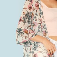 a466aded54 SHEIN Multicolor Vacation Boho Bohemian Beach Floral Print Flounce Sleeve  Long Kimono Summer Women Weekend Casual Blouse Top