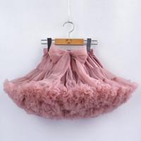 bebek petticoat tutu toptan satış-Yay Ile 15 Renkler Kızlar Tutu Petticoat Ruffles Kabarık Pettiskirt Prenses Yumuşak Tül Çocuk Parti Dans Petticoat 1-10 Yıl bebek