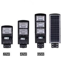 Wholesale pole mounted lighting resale online - New LED Solar Street Light W W W PIR Motion Sensor Light Control IP67 Waterproof Solar outdoor Wall Light with Mounting Pole