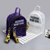 Wholesale saddle color for sale - Group buy Mini Jelly Transparent Women Backpack Summer Letter Clear School Bag Ladies Solid Color Knapsack Famous Brands Shoulder Bags
