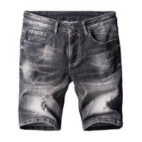 leichte denim kurze overalls großhandel-Freies Verschiffen 2017 Casual Jeans zerrissene Denim Shorts für Männer Sommer Stil hellblau Baumwolle Loch Kurze jeans overalls 050703