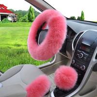 DHL fast free shipping 3pcs set Universal Steering wheel Plush Car Steering Wheel Covers Winter Faux fur Warm Car steering wheel