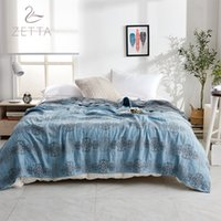 тонкое летнее одеяло оптовых-[ZETTA] 100% CottonSummer Thin Bedspread Children And Adults Quilt Blanket Summer Quilt ZTHB19-003