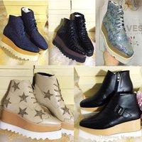 tam tahıllı deri ayakkabılar toptan satış-Stella Mccartney Platformu Çizmeler Kadın Ayakkabı Elyse Yıldız Takozlar En Kaliteli Blingbling Tam Tahıl Deri Oxfords Ayakkabı 15 Renkler Sneakers