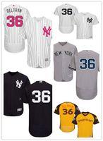 yankees jerseys majestuosos al por mayor-Hombres Mujeres Jóvenes personalizados Majestic NY Yankees Jersey # 36 Carlos Beltrán Inicio blanco Niños béisbol Jers