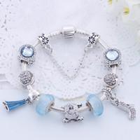 Wholesale love shoes pendant for sale - Group buy 2020 Charm Beads Bracelet Silver Pandoa style Bracelets love flower crystal shoes pendant snake chain Bangle Diy Jewelry