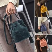 новые матовые сумки оптовых-Fashion Women Frosted Fringed Handbags Tassel Shoulder Bags Ladies New