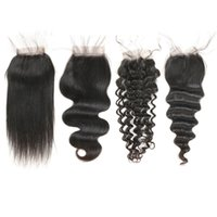 Wholesale baby loosing hair for sale - Group buy 4 Lace Closure Brazilian Hair Straight Body Wave Deep Wave Loose Wave Pre plucked Human Hair Closure with Baby Hair