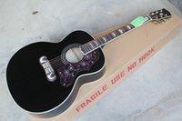 acústica personalizada venda por atacado-Frete Grátis 2019 Custom Shop Chegada Nova Spruce Preto S-J-200 6 Cordas Guitarra Acústica Sem Captadores Pescador
