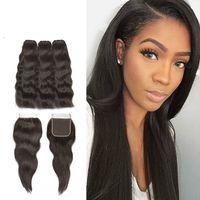 natural hair bundle toptan satış-Demetleri Ile Kapatma Doğal Düz Ham Hint Bakire Saç Örgü Demetleri Ücretsiz Kısmı Ile Dantel Kapatma