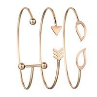 ingrosso braccialetti stratificati-3 pezzi / Semplice con bracciale a foglie, bracciali a frecce, bracciali multistrato, gioielli da donna.
