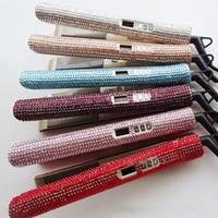demir elmas toptan satış-Boğa 105 kristal düz demir sparkle 2 in 1 bling Elmas MCH Profesyonel Saç Ütüler curling Düzleştirici Şekillendirici Araçları