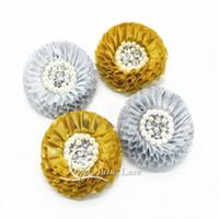 flores de tecido de prata venda por atacado-8 cm chiffon strass e pérola tecido brilhante flores de ouro e prata flores para headband flor de tecido de cetim