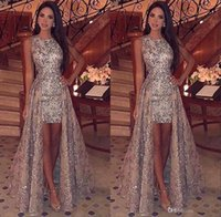 Wholesale crow art for sale - Group buy 2019 Bling Crew Neck Full Sequins High Low Prom Dresses Sparkling Sleeveless Lace Sweep Train Formal Party Evening Gowns BC1955