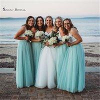 Wholesale petite bridesmaid dresses elegant for sale - 2019 Elegant Mint Long A line Bridesmaid Dresses With Tulle Sleeveless Maid of Honor Vestido De Novia