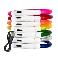 teddy usb großhandel-Wiederaufladbare blinkende Nacht Hundehalsbänder USB leuchtende Haustierhalsband LED-Licht USB Lade Hundehalsband leuchtende Teddy Flash Pet
