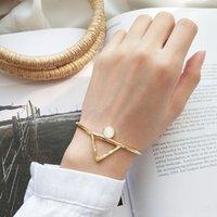 pulseras brazalete de oro amarillo al por mayor-Nueva moda abierta tamaño ajustable S925 plata esterlina 18K oro amarillo plateado triángulo ópalo pulsera de piedra brazaletes para niñas mujeres para fiesta
