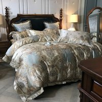 Wholesale jacquard luxury satin duvet bedding set resale online - Luxury European S Satin Silk Jacquard Bedding Set Queen King Duvet Cover Egyptian Cotton Bed Linen Fitted Sheet Pillowcases