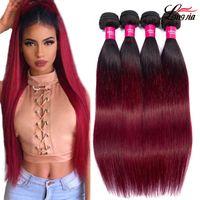 Wholesale two tone malaysian human hair resale online - Two tone b burgundy Straight Virgin hair Bundles Ombre human hair or bundles Malaysian Straight Virgin hair