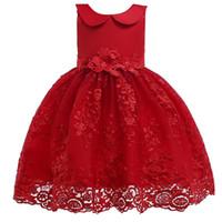 vestidos de renda colarinho para crianças venda por atacado-Crianças Boneca Collar Vestido Baby Girl Roupas de Grife Menina Tutu Malha Princesa Vestido Crianças Vestidos de Noite Rendas 19