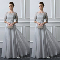 Wholesale champagne grooms wear for sale - Group buy Sliver Lace Mother Of The Groom Dresses with Sleeves A Line Chiffon Wedding Guest Gowns Mothers Evening Formal Wear