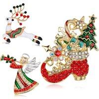 broches de alfileres enjoyados al por mayor-Joyería de moda de Navidad broche del rhinestone broches cristalinas Jeweled ciervos Ángel de la Navidad Broche botas y Contacto de ropa Decoración de Navidad regalos