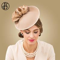 klasik büyüleyici şapkalar toptan satış-FS Kadınlar Için İngiliz Şapkalar 100% Yün Pillbox Şapka Haki Fedora Vintage Çiçek Düğün Fascinator Bayanlar Şapka Hissettim