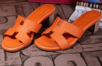 ingrosso tacco piatto-Pantofole estate Designer pantofole donna tacco alto in vera pelle piatta donna scarpe casual da spiaggia sandali firmati CON SCATOLA