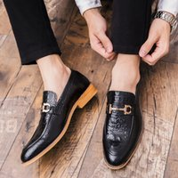 Wholesale c grains resale online - Pretty2019 Within England Increase Hairstyle Division Leather Shoes Crocodile Grain One Pedal Dawdler Leisure Time Trend Male Shoe Will