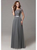 uzun kollu resmi elbiseler nedime toptan satış-2020 Yeni Gri Uzun Modest Gelinlik Modelleri ile Cap Kollu Dantel Tül Kısa Kollu Şeffaf Boyun çizgisi Örgün Düğün Elbise Gerçek