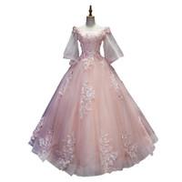 халаты светло-оранжевые оптовых-100% реальный розовый / светло-оранжевый / светло-голубой вышивка рококо драма платье средневековый Ренессанс королева Викторианская платье / может таможни размер