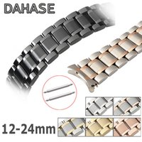 Wholesale 19mm watch buckle resale online - Curved End Stainless Steel Replacement Watch Band mm mm mm mm Watch Strap Butterfly Buckle ZWT Y200326