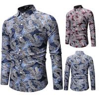 cor dobro camiseta venda por atacado-Audoc Mens Primavera e verão Geométrica Irregular moda cor blusa Camisa Marca de Manga longa Plus Size Camisas Dos Homens Casuais