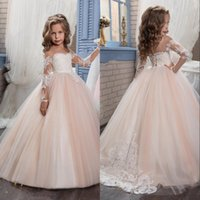 Wholesale yellow lace gown girls online - Cheap Flower Girls Dresses For Weddings Illusion Long Sleeves Lace Appliques Birthday Wear Children Party Gowns Kids Girl Pageant Dress