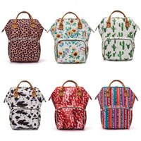 Wholesale diapers wipes for sale - Group buy Sunflower Diaper Bag Leopard Stripe Mummy Backpack Waterproof Outdoor Nappy Bag Large Capacity Backpack Travel Bag Handbag Baby Care YFA450