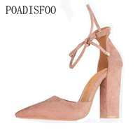 Wholesale sexy strappy green heels online - Poadisfoo Colors Pointed Strappy Pumps Sexy Retro High Thick Heels Shoes Woman Shoes Lace Up Shoes Plus Size cm kl