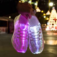 ingrosso ha portato la sneaker 46-Led Fibra Ottica Scarpe Ragazze Ragazzi Uomini Donne USB ricarica Sneakers incandescente Scarpe uomo luce taglia 25 46 Nuova estate