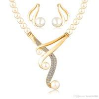 brincos de pérolas de ouro mexicano venda por atacado-Conjuntos de jóias venda quente mulheres moda de cristal de noiva de casamento africano contas de cor de ouro Europeu Imitação de pérolas colar de presente brinco