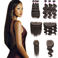 Wholesale unprocessed virgin hair vendors resale online - Raw Indian Virgin Human Hair Bundles with Closure A Straight Extensions Unprocessed Body Wave Hair Weaves with Frontal Bulk Order Vendor