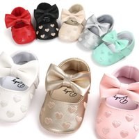 Wholesale baby moccasins shoes online - Baby PU Leather Baby Boy Girl Baby Moccasins Moccs Shoes Bow Fringe Soft Soled Non slip Footwear Crib Shoes