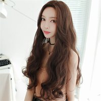 Wholesale Fashion Woman s Long Curly Hair Big Wave Fashion Realistic Chemical Fiber Wig Kanekalon Heat Resistant Cosplay Party Hair Full Wig Wigs