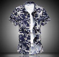 mens rahat ipek gömlek toptan satış-erkek tasarımcı t shirt t shirt elbise beyaz boyut 6XL 7XL büyük boy rahat moda çiçek gömlek streç ipek pamuk kısa kollu gömlek