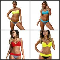 biquínis amarelos azuis venda por atacado-Verão Bikini divisão para Lady Mar Alojamentos espessamento Swimsuit Sexy Macio Stripe Amarelo Vermelho Azul Swimwear Hot Sale 22ysD1