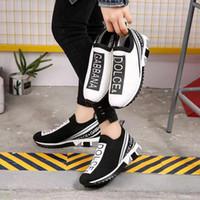 siyah kız beyaz çorap toptan satış-2019 Bayan Erkek Tasarımcı Çorap Ayakkabı Kızlar Lüks Eğitmenler Yarış İkincisi Siyah Beyaz SneakersDolce GabbanaDolce GabbanaDG A01