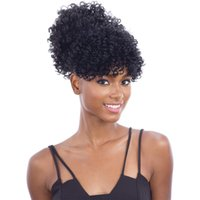 Wholesale afro kinky ponytail online - Human Hair Afro Kinky Ponytail for Black Women Clip in Hair Extension Kinky Curly Ponytails Drawstring Natural Coily Ponytail Hairpiece g