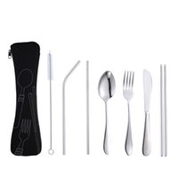 Wholesale portable chopsticks stainless steel for sale - Group buy Stainless steel cutlery set Outdoor portable bag cutlery chopsticks Stainless steel straw set of seven