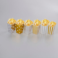 Wholesale popcorn bags resale online - 12pcs Gold Silver Stiff Paper Mini Party Popcorn Boxes Corn Candy Sanck Favor Bags Wedding Birthday Movie Party Tableware