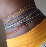 accesorios del vientre cadenas al por mayor-Boho Tredny Mujeres Coloridas Cuentas de Arroz Cadena de la Cintura Verano Playa Moda Body Jewelry Sexy Belly Chains Accesorios T304
